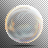 Soap bubble. Multicolored Transparent Bubble With Glares, Highlights And Gradient. Colorful Sphere Shape. Vector Illustration On G Stock Image