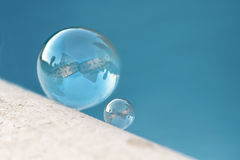 Soap bubble with reflection of my house Stock Images
