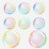 Soap bubble. Set of multicolored transparent bubbles with glares