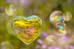 Soap bubble in the shape of heart Royalty Free Stock Photography