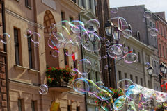 Soap bubble. On street in Poland Royalty Free Stock Photo