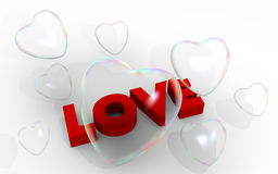 Soap bubble Valentine hearts and love word Stock Photo