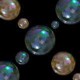 Soap bubbles. Soap bubble on green background Stock Photos