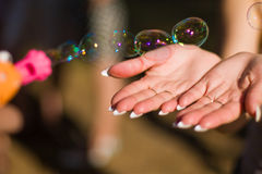 Soap bubbles. In the air royalty free stock photography