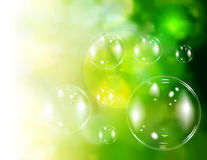 Soap bubbles. On green natural background vector illustration
