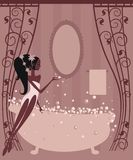 Soap bubbles. Beautiful girl with soap bubbles.Illustration stock illustration