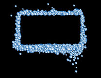 Soap Bubbles. A rectangular bubble frame with fun blue soap bubbles on black background Royalty Free Illustration