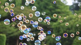 4k Soap bubbles floating in the air with natural green blurred bokeh background
