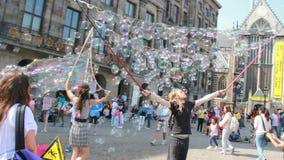 Soap bubbles in Amsterdam, Holland stock video