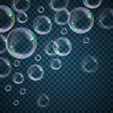 Soap bubbles background. Realistic floating soap bubbles with rainbow reflection on transparent background. Design element for advertising booklet, flyer or vector illustration