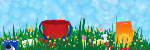Soap bubbles banner. Spring cleaning service concept. Vector stock illustration