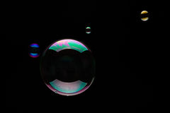 Soap Bubbles On A Black Background. Soap bubbles on a black backgound for overlay use Royalty Free Stock Photography
