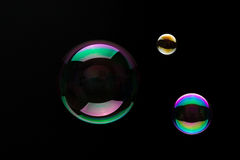 Soap Bubbles On A Black Background. Soap bubbles on a black backgound for overlay use Stock Photos