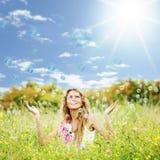 Soap bubbles. Blonde starts soap bubbles in a green field Stock Image