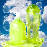 Soap bubbles on cloudy sky Stock Image