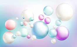Soap bubbles or colorful glossy flying spheres. Soap bubbles or opaque colorful glossy spheres randomly flying on rainbow colored defocused background. Magical stock illustration