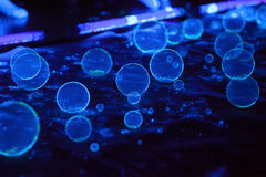 Soap bubbles on dark background in fluorescent light stock photos