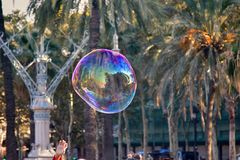 Soap bubbles of different shapes and sizes. Amid tropical gardens. Entertainment for children and young people, childs play stock photo