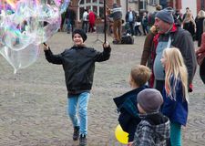 Soap bubbles entertainment happy boy Royalty Free Stock Photos