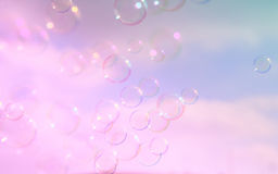 Soap bubbles floating in the air aginst sky Stock Photos