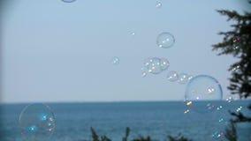 Soap Bubbles Floating Around Sea Landscape stock video