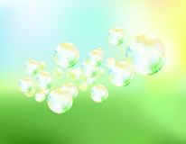 Soap bubbles fly background vector illustration Stock Photo