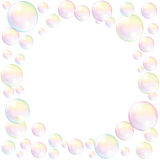 Soap Bubbles Frame Background White Stock Image