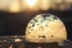 Soap bubbles freeze in the cold. Winter soapy water freezes in t. Soap bubbles freeze in the cold. Winter soapy water freezes in air.r Royalty Free Stock Photo
