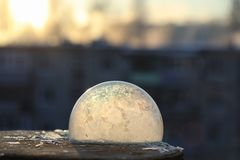 Soap bubbles freeze in the cold. Winter soapy water freezes in t. Soap bubbles freeze in the cold. Winter soapy water freezes in air.r Royalty Free Stock Photography