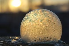 Soap bubbles freeze in the cold. Winter soapy water freezes in t. Soap bubbles freeze in the cold. Winter soapy water freezes in air.r royalty free stock photos