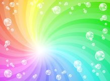 Soap bubbles in front of colorful background Royalty Free Stock Photography