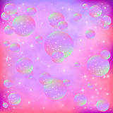 Soap Bubbles. Multi colored soap bubbles with particles Royalty Free Stock Image