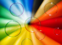 Soap bubbles and multi-coloured background Royalty Free Stock Image