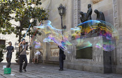 Soap bubbles performance in Barcelona. Stock Photography