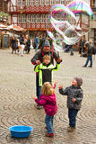 Soap bubbles performer Royalty Free Stock Photography