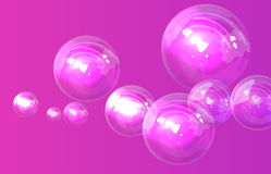 Soap bubbles on pink background in vector Royalty Free Stock Photos