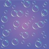 Soap bubbles on purple background, Violet abstract background. royalty free illustration