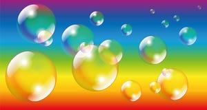 Soap Bubbles Rainbow Colors. Soap bubbles - vector illustration on rainbow colors gradient background vector illustration