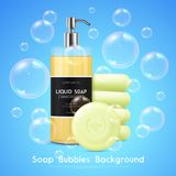 Soap Bubbles Realistic Background Poster stock illustration