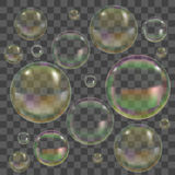 Soap Bubbles with Reflection Set. Vector Royalty Free Stock Photography