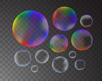Soap bubbles set. Soap bubbles isolated on transparent background set. Vector illustration vector illustration