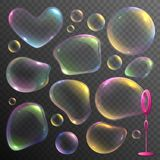 Soap Bubbles Set. Realistic set of colorful deformed soap bubbles isolated on transparent background vector illustration stock illustration