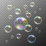 Soap Bubbles Set. Realistic soap bubbles with rainbow reflection set  vector illustration Royalty Free Stock Photography