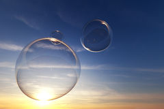 Soap bubbles in the sky with sunset Stock Photo