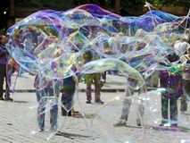 Soap bubbles of street artists Stock Photography