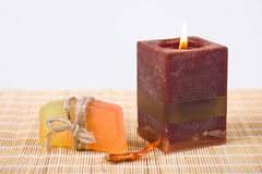Soap and candle. Stock Image