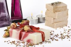 Soap and candles Stock Images