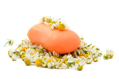 Soap with chamomile medical Royalty Free Stock Images