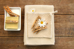 Soap, clothespins and towels Royalty Free Stock Photography