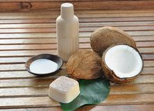 Soap and coconut milk for body care Stock Images
